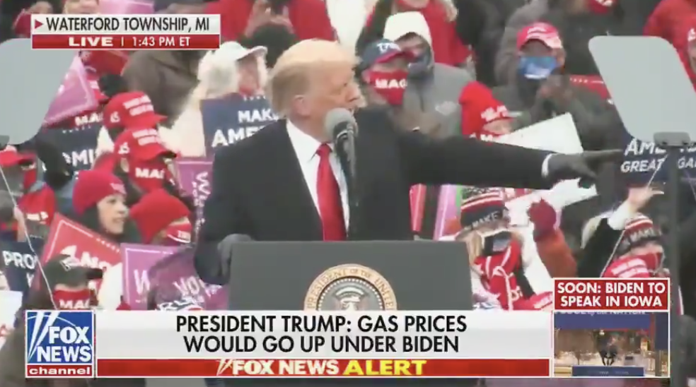 Trump Mocks Laura Ingraham for Wearing a Mask at His Michigan Rally, 'Very Politically Correct!'